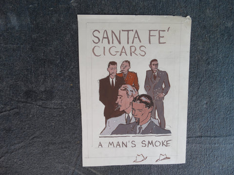 Sam Hyde Harris - Advertising Concept Art for Santa Fé Cigars circa 1930s AP1323