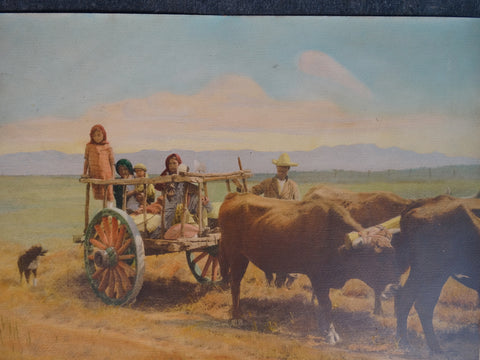 Hand Tinted Photograph of Chicano El Paso Texas Farm Family circa 1945 AP1326