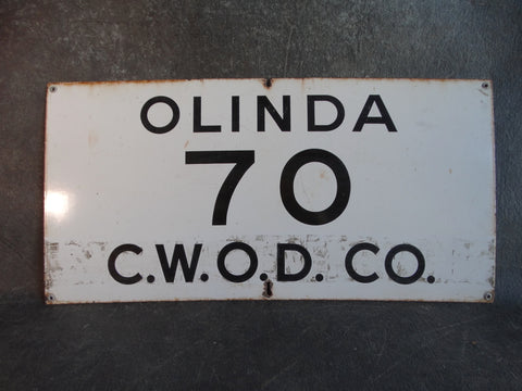 Olinda 70 CWOD Co Oil Industry Porcelain Enamel Sign AP1344
