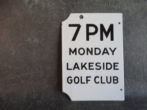 Porcelain Enamel Lakeside Golf Club Sign Double-sided AP1347