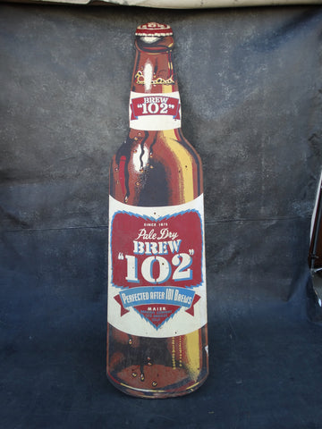 Pale Dry Brew 102 Tin Litho Sign 1950s AP1350