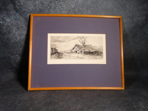 Arthur Millier - Old Barn Paso Robles 1961 Etching AP1365