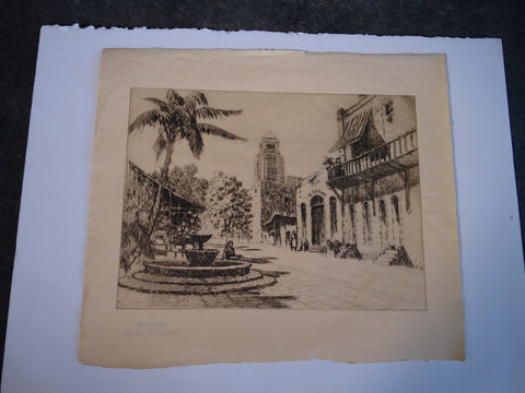 Thomas Hill McKay (1875-1941) View of Olvera Street - Etching AP1424