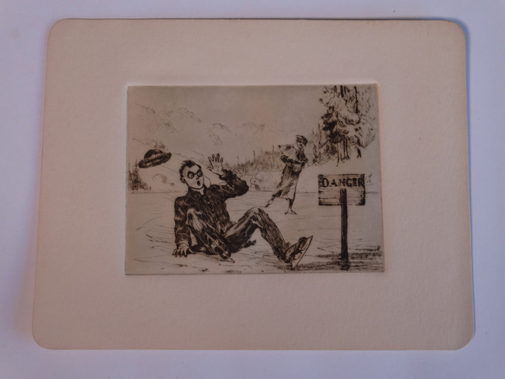 Thomas Hill McKay (1875-1941) A Fall on the Ice - Etching AP1432