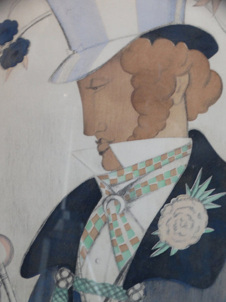 A Young Regency Dandy - Lithograph -1920s AP1454