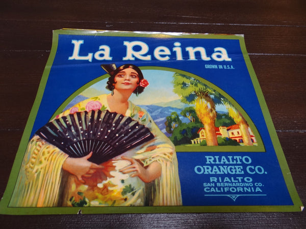 La Reina Orange Crate Vintage Labe