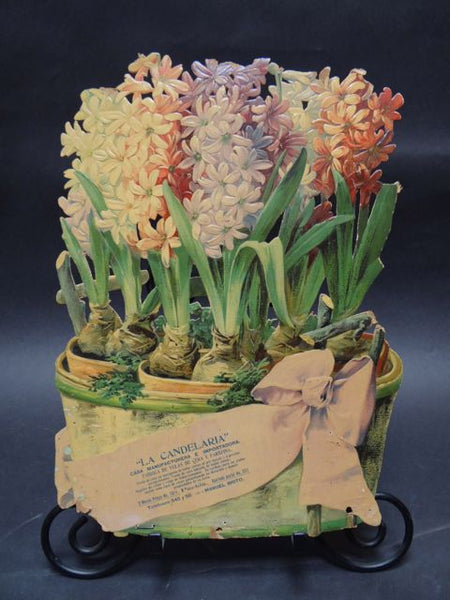 Mexican Calendar Chromo: Basket of Hyacinths