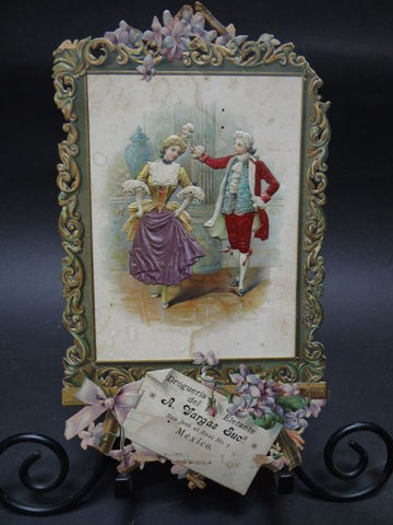 19th Century Mexican Calendar Chromo: 18th Century Dancing Couple