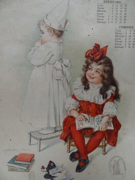 Maud Humphrey: Little Girl in Dunce Cap Being Laughed At