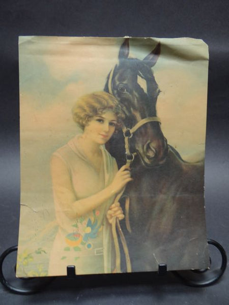 Mexican Calendar Chromo: 1920's Beauty with Horse