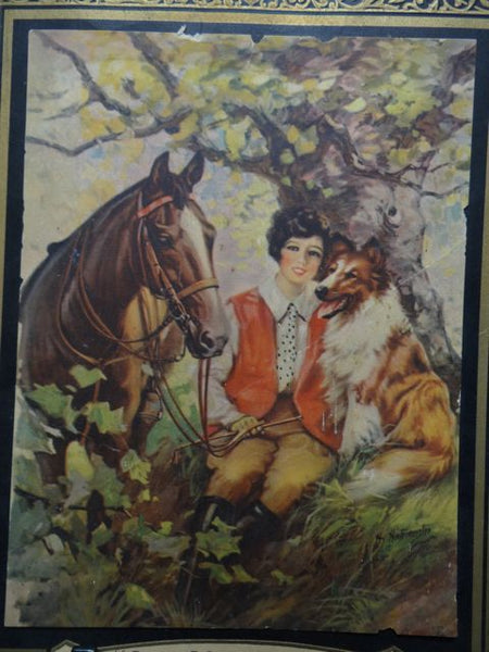 Mexican Calendar Chromo: Girl with her Horse and her Collie