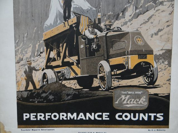 "Two-color magazine advertisement for The ""Bull Dog"" Mack Truck Company 1920s"