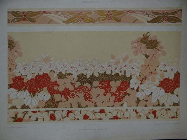 Art Nouveau Decorative Rose Borders by R. Bacard Lithographic Plate