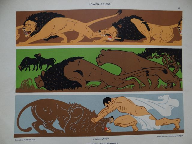 Lions Triptych Lithographic Plate by Auguste Roubille