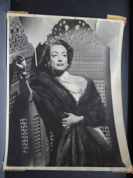 Signed Studio Portrait of Joan Crawford Covered in Mink (Bert Six) 1950