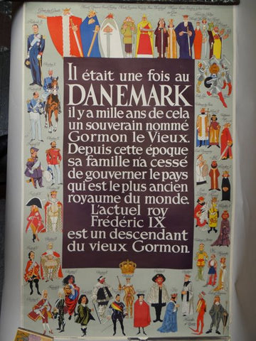1950s Danish Travel Poster Royal Line of Descent of Denmark
