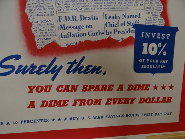 WWII US War Savings Bonds Appeal Poster 1940s
