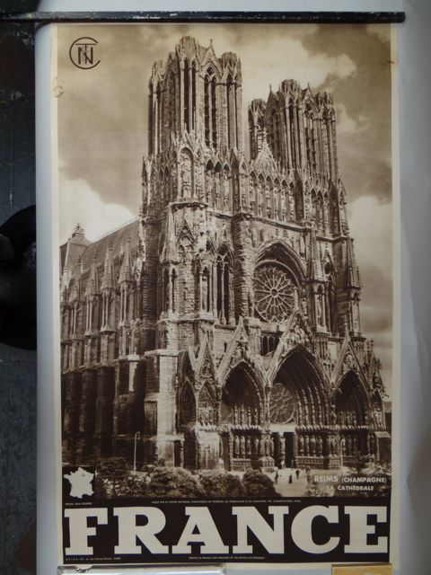 French Travel Poster Rheims Cathedral c 1938 Jean Roubier