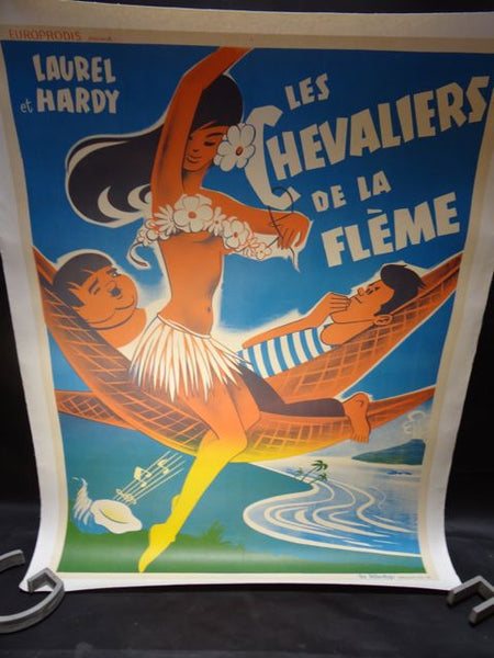 Laurel and Hardy Poster - LES CHEVALIERS DE LA FLEME - 1951