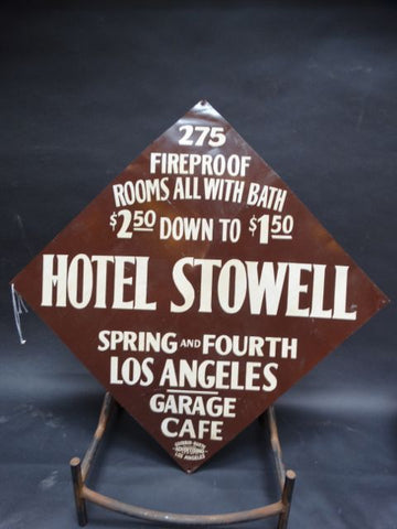 Stowell Hotel Metal Enamel Sign