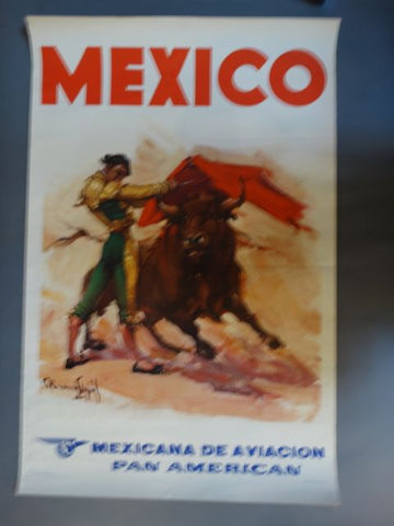 Vintage Mexican Travel Poster: Mexico Bullfight