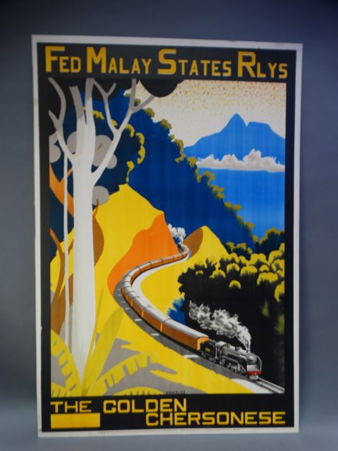 Malay Railways Vintage Travel Poster THE GOLDEN CHERSONESE 1930s