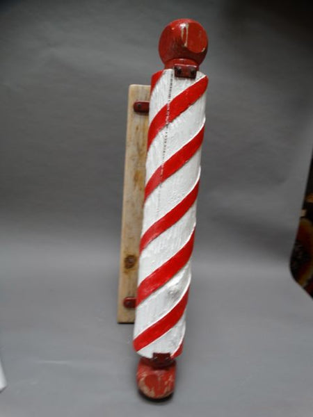 Homemade Hand-carved Barber Pole 1960s
