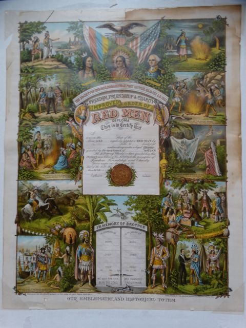 Improved Order of The Red Men Diploma Certificate of Membership (Tammany Hall) Litho Poster