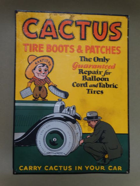 Cactus Tire Boots and Patches Sign 1920s