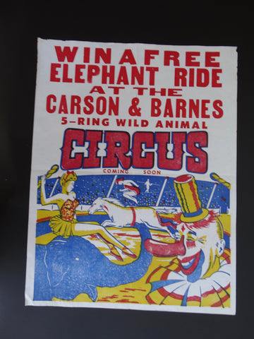 Carson and Barnes 5-Ring Circus Poster