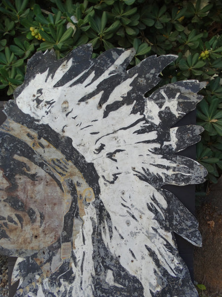 Indian Chief Head, Huge Hand Painted Metal Sign