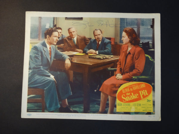 THE SNAKE PIT 1948 lobby card, autographed by Olivia De Havilland