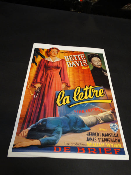 THE LETTER 1940 Bette Davis Movie Poster LA LETTRE