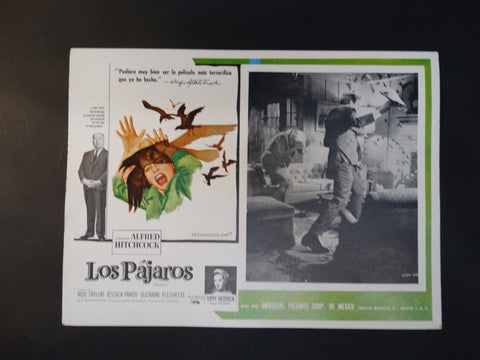"""The Birds"" Vintage half sheet poster, Spanish version ""Los Pajaros"""