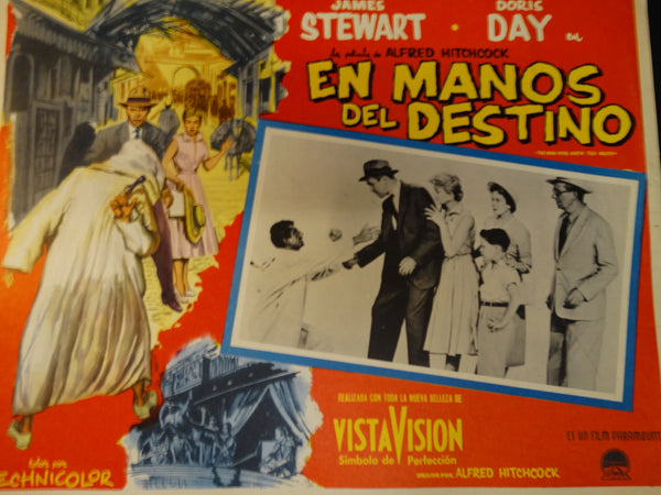 Alfred Hitchcock The Man Who Knew Too Much (En Manos del Destino) lobby card, Spanish version,