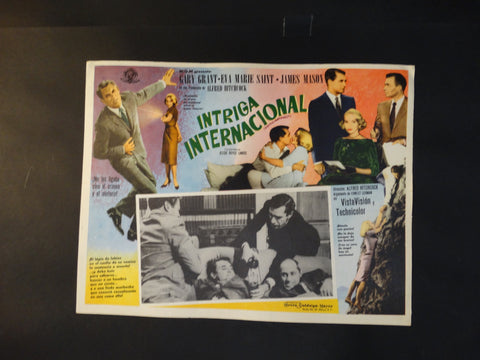 Alfred Hitchcock North by Northwest lobby card, Spanish version