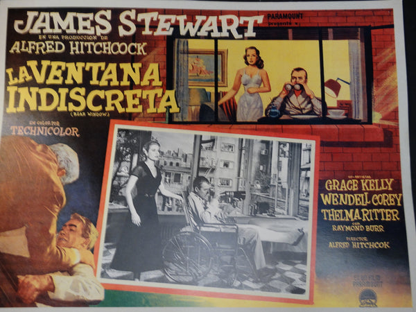 "Alfred Hitchcock ""Rear Window"" lobby card, Spanish version"