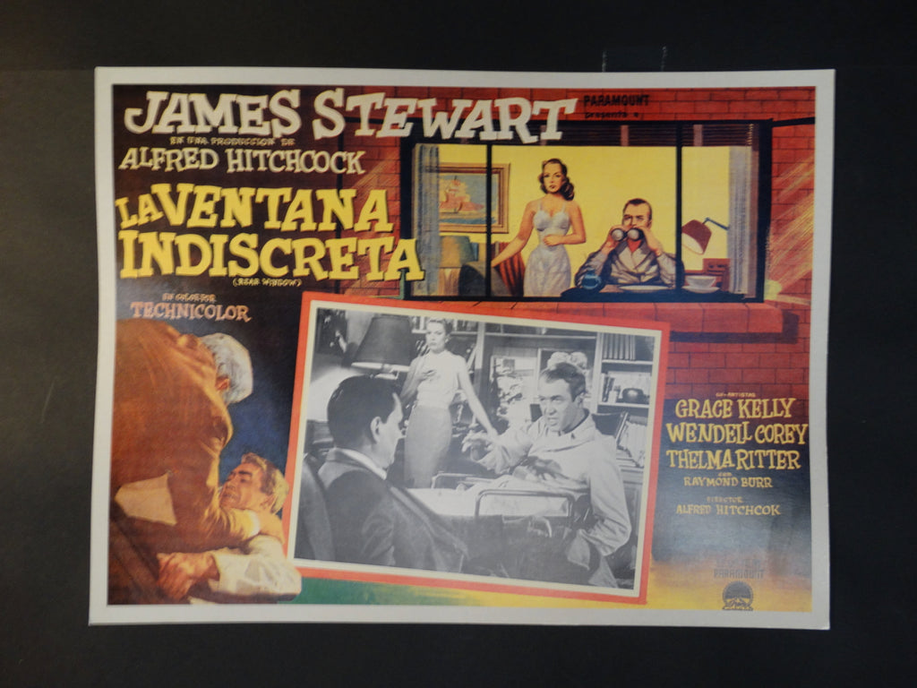 Alfred Hitchcock Rear Window lobby card, Spanish version