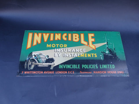 "Vintage ""Invincible Motor Insurance"" Sign"