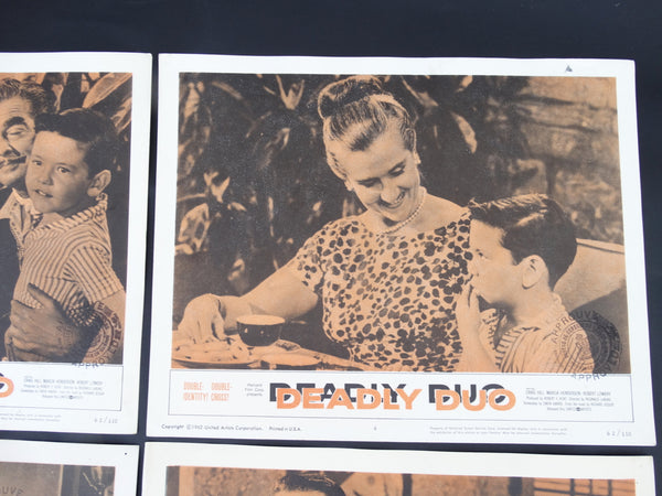 DEADLY DUO - Set of 4 Lobby Cards 1962
