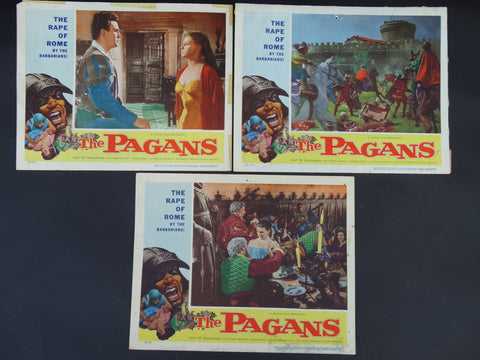 THE PAGANS 1953 (Il Sacco di Roma) -- Set of 3 lobby cards