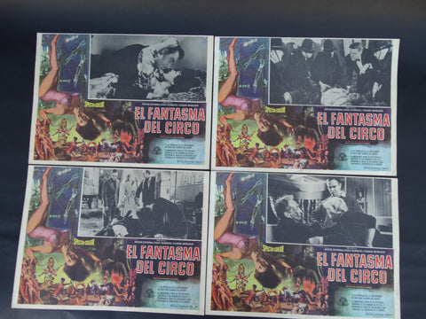 El Fantasmo Del Circo  (Circus of Horrors 1960) 4 Lobby Cards