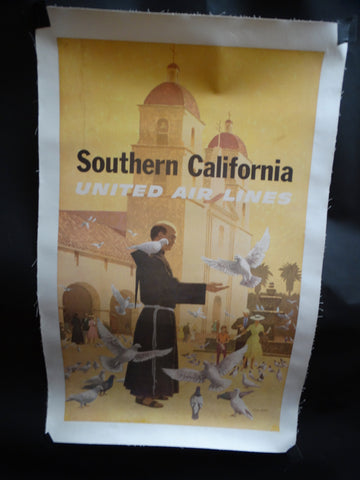 United Airlines Santa Barbara Old Mission Poster