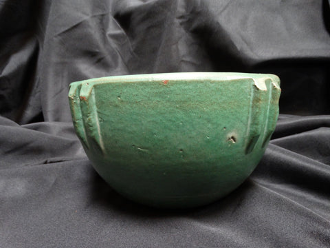 "Rare Matte Green Bauer Indian Bowl #8: 6 1/2"" x 10 1/4"""