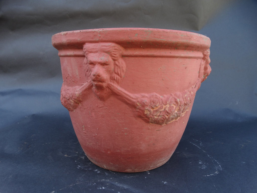 Bauer Redware Lion Pot w Red Paint