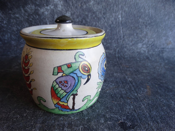 Bauer Plainware White Spice Jar with Hand-painted Parrot Motif c1930s B3073