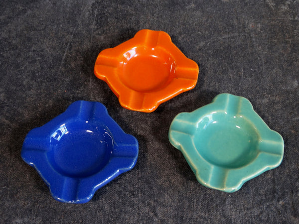 Bauer Stacking Ashtrays Set of 3 in Cobalt, Jade Green & Orange B3107