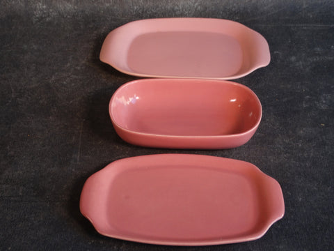 Bauer Set of 3 Pink Mid-Century Serving Pieces B3144