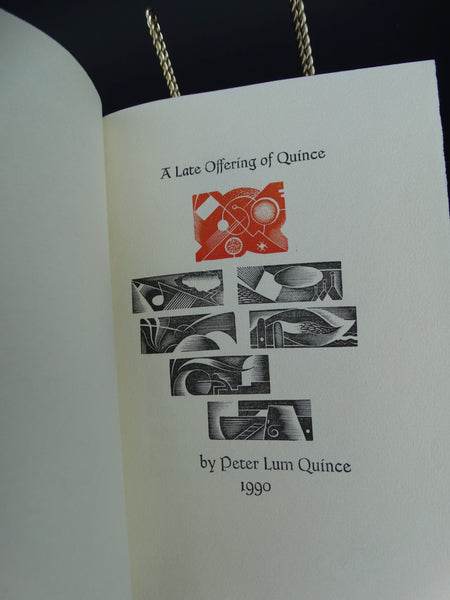 "Book: ""A Late Offering of Quince"" by Peter Lum Quince"