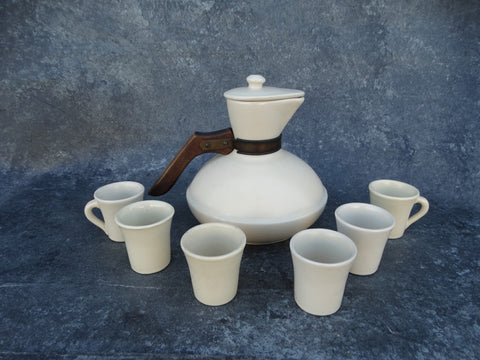 Catalina Island Pottery Carafe with Lid and Set of 6 Cups
